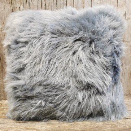 vankúš umelá kožušina  šedý s výplňou 16x43x43cm