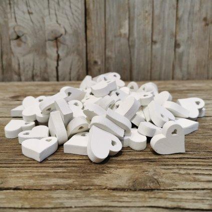 drevené srdiečko biele dekorácia 2,5cm cena za 1ks