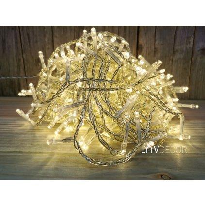 vianočne osvetlenie 320 led tepla biela priesvitný kábel 24m