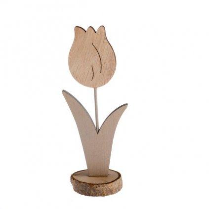 drevený kvet tulipán dekorácia prírodný 7,5×19×5cm
