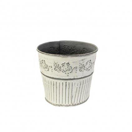 Kvetináč plechový okrúhly ružičky biela patina 10x9cm