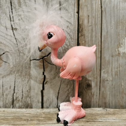 plameniak s perím dekorácia rúžový 13x7cm