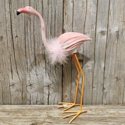 plameniak s perím dekorácia rúžový 33x23cm