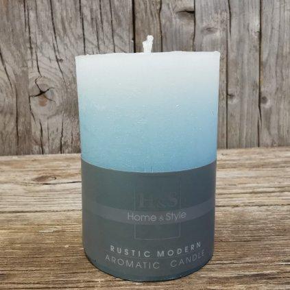 sviečka bledo modrá rustikálna 10x7cm