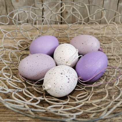 veľkonočne vajíčka plastové  fialové/BIELE S/6 6CM