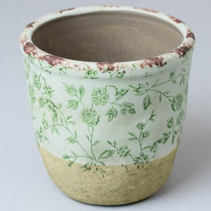 OBAL na kvety Keramika VZOR KVET ZELENÝ 14x14x13CM