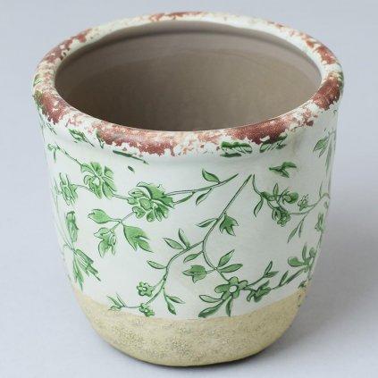 OBAL na kvety Keramika VZOR KVET Zelený 11x11x10CM