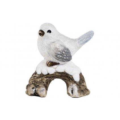 Vtáčik na pníku keramická dekorácia 11x12x6cm