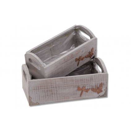 Obal drevený s uškami šedý igelitovou vložkou, cena za 2 kusy veľký 30x16x10cm