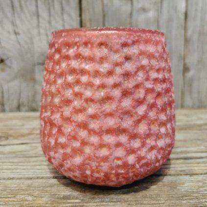 Sklenený svietnik rúžový 10x9,5cm