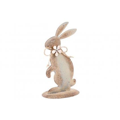 Zajac, kovová dekorácia hnedo šedá 15x9x6cm