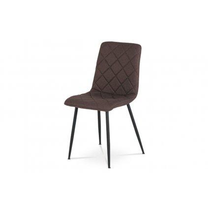 jedálenská stolička, poťah hnedá látka, kovové nohy - čierny lak