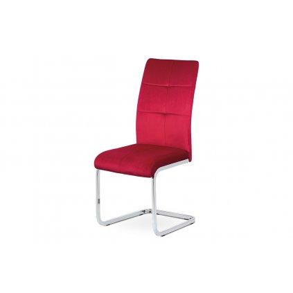 jedálenská stolička červená zamatová látka, kovová chromovaná podnož
