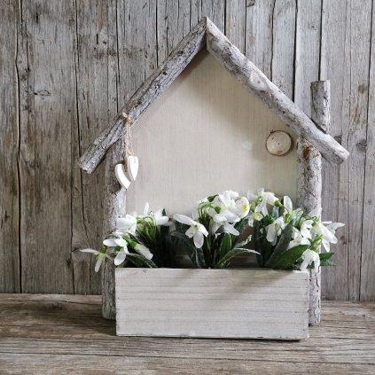 Domček drevený obal na kvety 25 × 7/42 × 9 cm