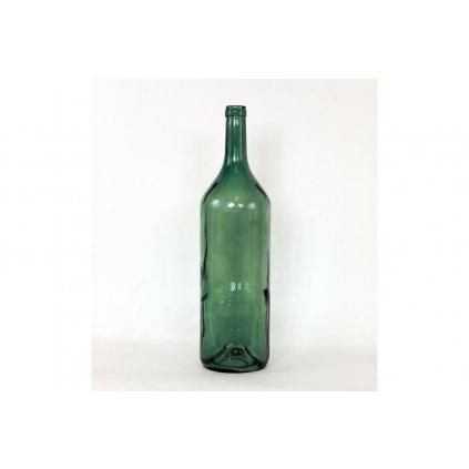 Váza sklenená v tvare fľaše zelená 14,5x54cm
