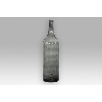 Váza sklenená v tvare fľaše tmavo vínová  14,5x54cm