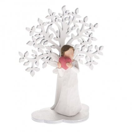 anjel so srdiečkom so stromom biely polyresin 15x15cm