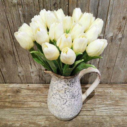 tulipán smotanovo biely gumený jemne bielený 43cm cena za 1ks
