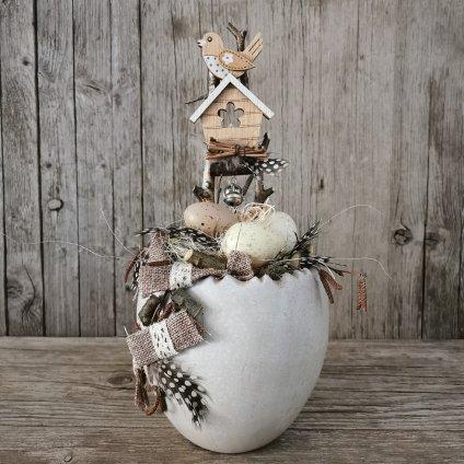 váza keramická biela 19cm