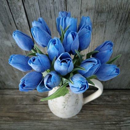 tulipán rúžovo zelený jemne bielený 42CM cena za 1ks