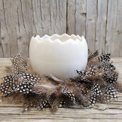 vajíčko obal na kvety biely keramika 12x10cm