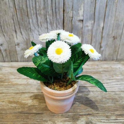 umelé kvietky v kvetináči biele 21cm