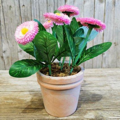 umelé kvietky v kvetináči rúžové 21cm