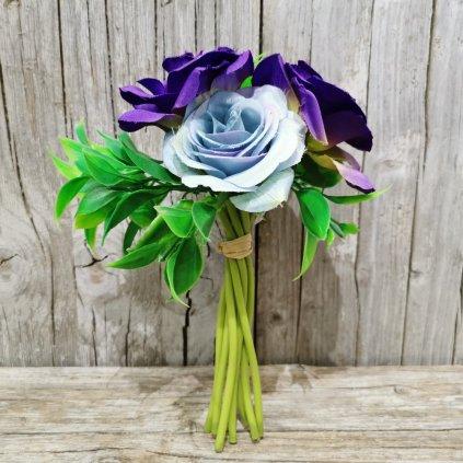 umelá kytica ruže modrá 23x15cm
