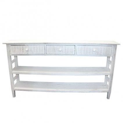 Stôl s tromi zásuvkami drevený biely 140×76×27cm