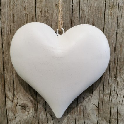 Srdiečko, kovová dekorácia na zavesenie, antik biele 16x15,50cm