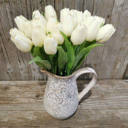 tulipán smotanový gumený jemne bielený 43cm cena za 1ks