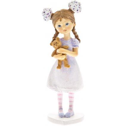 dievčatko s mackom dekorácia 6x5x16cm