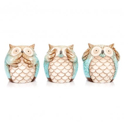 sova tyrkysová keramika 10x14x14cm cena za 1ks