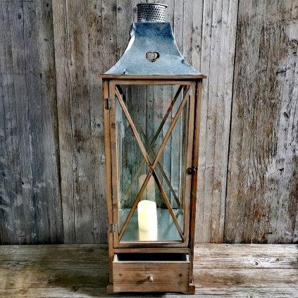 lampáš drevený so zásuvkou hnedý 102x33x33cm