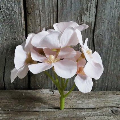 umelý kvet HLAVA HORTENZIA SVETLORUŽOVÁ 7CM