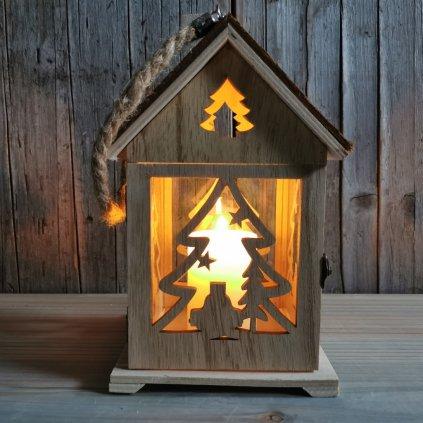vianočný Lampáš DREVENÝ DOM 15X14X27CM