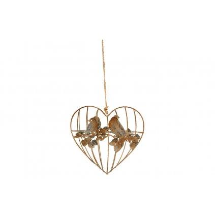 srdce s vtáčikmi na zavesenie , dekorácia z kovových drôtov 15x15x4,5cm