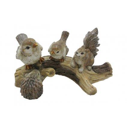 Zvieratká na pníku,polyresinová dekorácia,14x26x14cm