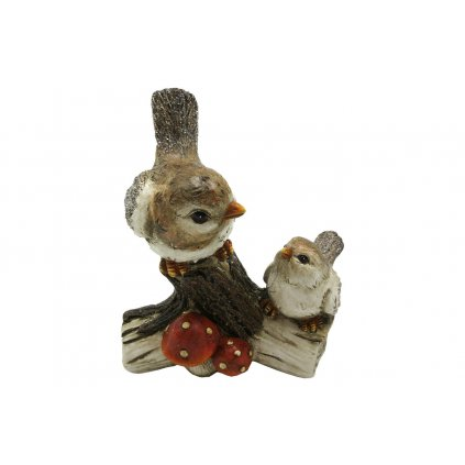 Vtáčiky na pníku s muchotrávkou polyresin 8x12x14cm