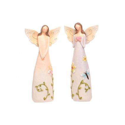 Anjel s kvetinami na šatách polyresin 2druhy 13x25x7cm cena za 1ks