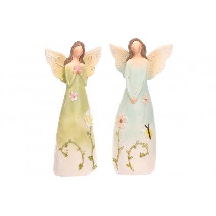 Anjel polyresinový, s kvetinami na šatách,mix 2 druhov,farba svetlo zelená a modrá,10x21x6cm,cena za 1ks