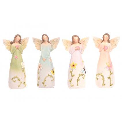 Anjel polyresinový, s kvetinami na šatoch,mix druhov,farby svetlé,8x16x5cm,cena za 1ks