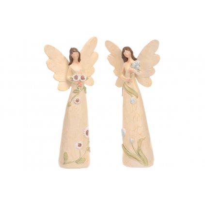 Anjel kvetinový,mix 2 druhov,farba krémová,10x21x6cm,cena za 1kus