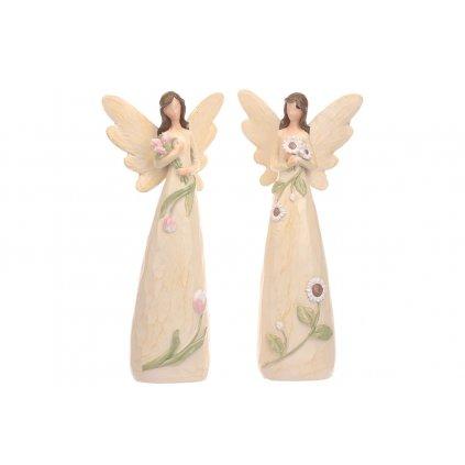 Anjel kvetinový,mix 2 druhov,farba krémová,12x26x7cm,cena za 1kus