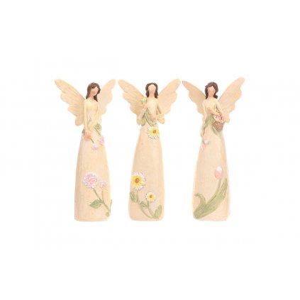 Anjel kvetinový,mix 3 druhov,farba krémová,8x16x5cm cena za 1kus