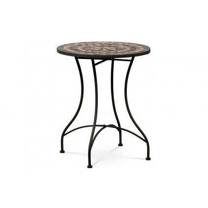 Záhradný stôl, doska z kramickej mozaiky, kov konštrukcia, čierny matný lak (typovo ku stoličke JF2226 a lavici JF2227)
