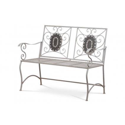 Záhradná lavica, keramická mozaika, kovová konštrukcia, čierny matný lak (typovo ku stolu JF2228 a stoličke JF2229)