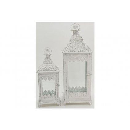 Lampáš kovový biely antik  sada 2ks cena za sadu  19x55x19cm,14x39x14cm