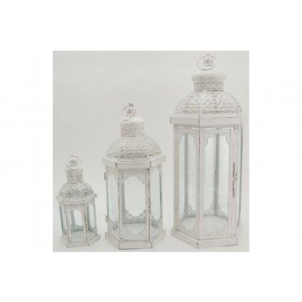 Lampáš kovový biely antik  sada 3ks cena za sadu 13x28x11cm,20x44x17cm,25x59x22cm