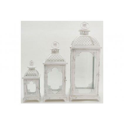 Lampáš kovový biely antik sada 3ks cena za sadu 13x31x13cm,18x46x18cm,23x62x23cm
